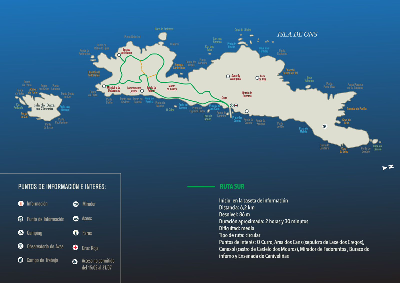 Isla De Ons Mapa.Hiking Trails Camping Isla De Ons